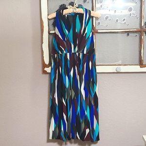 🦋 Calvin Klein Fit & Flare Deep V-Neck Flowy Halter Dress